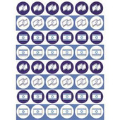 Mini Israeli Flags in Circles Stickers