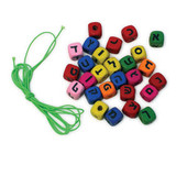 Hebrew Aleph Bet (Hebrew Alphabet) Colorful Wood Beads and Cord