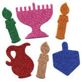 Hanukkah (Chanukah) Small Glitter Foam Shapes