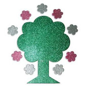 Glitter Tree with Flowers Foam Shapes