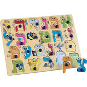 Hebrew Alef-Bet Wood Peg Puzzle