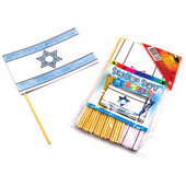 12 Large Israeli Flags with Wooden Dowels for Decoration