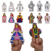 18 Sets of 6 Purim Megilah Characters Finger Puppets Craft Project