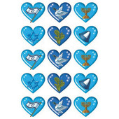 Israel Symbols in Hearts Stickers