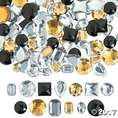 Black, Gold & Silver Faceted Gems - Large