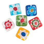 Glass Square Flower Millefiori Beads