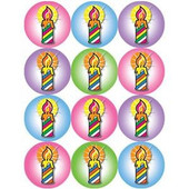Colorful Chanukah Candles Stickers