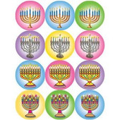 Chanukah Menorah Colorful Stickers