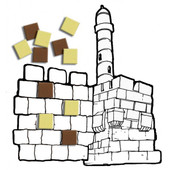 Tower of David Color & Paste Crafts (36) with Jerusalem Stones Foam Mosaic Squares