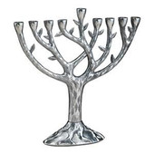 "Textured ""Tree of Life"" (TM) Menorah 10.75"" tall"