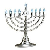 Silvertone LED Menorah with Clear Bulbs