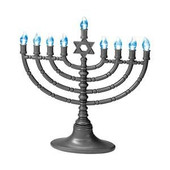 Gray LED Menorah with Blue Bulbs
