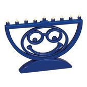 """MENOJI"" (TM) - Battery Operated LED Menorah in Blue"