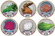 """Passover Seder Plate Symbols Stickers 1.9"""" (18 Sets of 6)"""