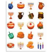 "Chanukah Symbols Stickers 1"""