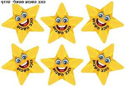 Star of the Week Hebrew Encouragement Metallic Stickers
