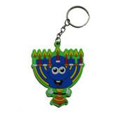 Hanukkah Menorah Rubber Keychain