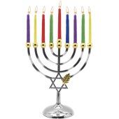 Candle Menorah Set Chrome Plated W/ Gold Tips
