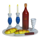 Colorful Shabbat Wooden Play Set Large