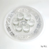 7 Piece Glass Seder Set with Silver Floral Design