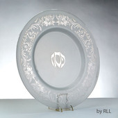 Glass Round Seder Plate With Silver Floral Design