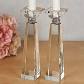 Crystal Candlesticks with Diamond Adornment