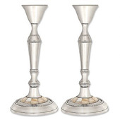Nickel Plated Candlesticks with Mother of Pearl