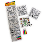 Chanukah Inlay Puzzles for Coloring w. Markers