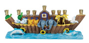 Sculptured Resin Noah's Ark Menorah