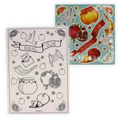 12 Rosh HaShana Coloring Card-Stock Boards & 12 Sticker Sheets