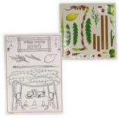 12 Sukkot Coloring Card-Stock Boards & 12 Sticker Sheets