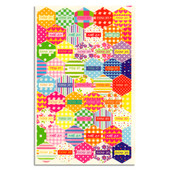 """Chag Samech Stickers. Hexagon shaped stickers with the words """"Chag Sameach"""" (חג שמח) (meaning Happy Holiday in Hebrew)."""