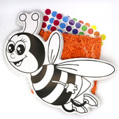 Large Card-Stock Honey Bee with Shredded Foam Flakes & Stickers Craft (