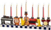 Hand Painted Resin Menorah - Musical Instruments
