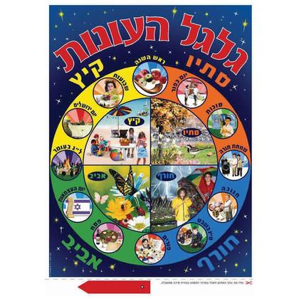 """Galgal Ha Onot"" Wheel of Seasons in Hebrew Jewish Classroom Poster"
