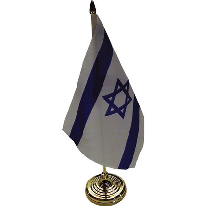 Israeli Table Flag on Sturdy Golden Plastic Stand