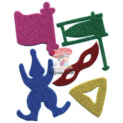 Glitter Purim Foam Shapes