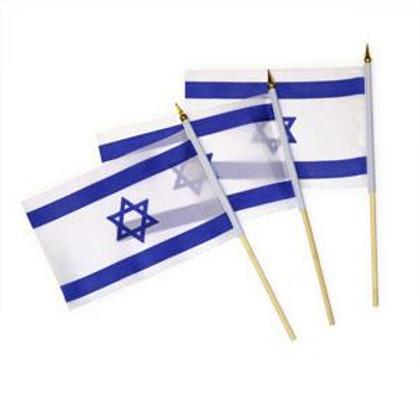 Small Israeli Flag on Wood Stick