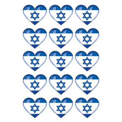 Israeli Flag Heart Shaped Stickers
