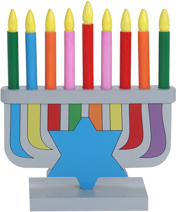 Play Wood Menorah With Removable Wood Candles