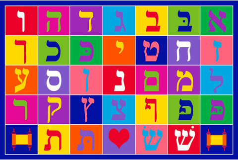 Large Hebrew Aleph Bet Rug