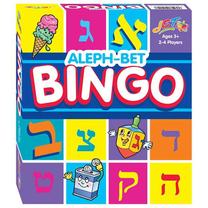 """Alef-bet bingo game with traditional chips used to """"call"""" the alef-bet letters."""