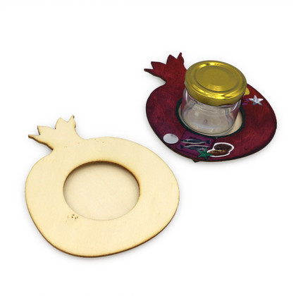 Wooden Pomegranate Honey Dish Base with Glass Mini Honey Jar