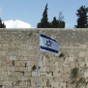 Israeli Flag in front of the Western Wall
