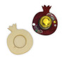 Wooden Pomegranate Honey Dish Base with Glass Mini Honey Jar - View from Top