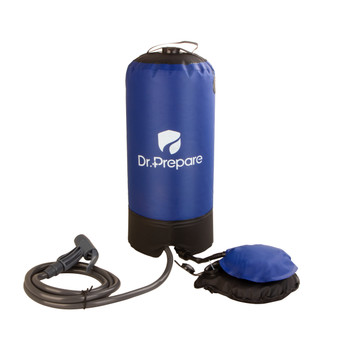 Dr. Prepare Camp Shower, 25L Portable Outdoor Camping Shower Bag with Pressure Foot Pump & Shower Nozzle for Beach Swim Travel Hiking Backpacking