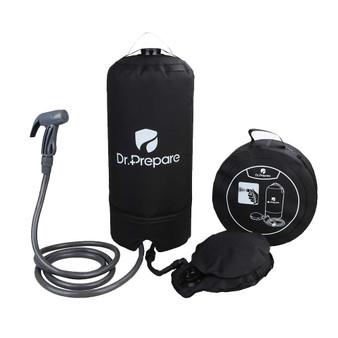 Dr. Prepare 4 Gallon Portable Camp Shower with Pressure Foot Pump & Shower Nozzle