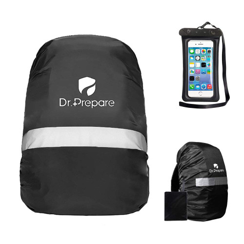 Dr. Prepare Waterproof Backpack Pack Rain Cover with Reflective Strip, Adjustable Non-Slip Buckle Strap, Waterproof Phone Case Pouch for Camping and Hiking, 30-50L - Black