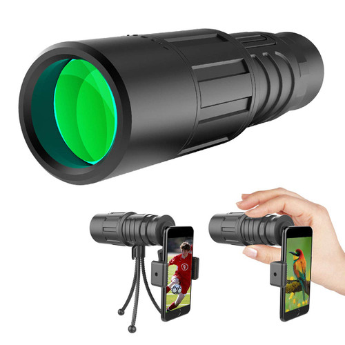 Dr. Prepare 10x40 BAK-4 Waterproof Monocular Telescope with Smartphone Bracket