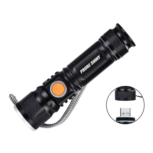 Dr. Prepare USB Rechargeable Flashlight with 3 Lighting Modes